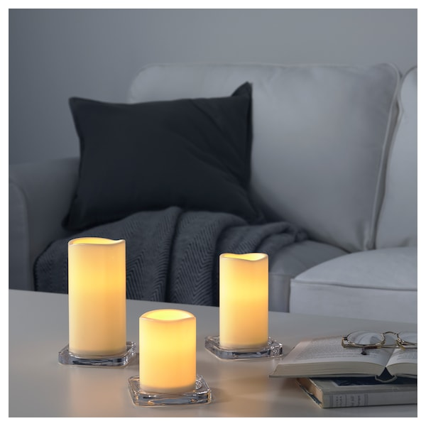 IKEA GODAFTON LED block candle in/out, set of 3