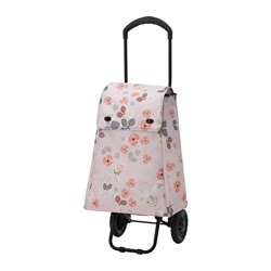BLOMBUKETT shopping bag on wheels, flowers Length: 41 cm Depth: 25 cm Height: 51 cm