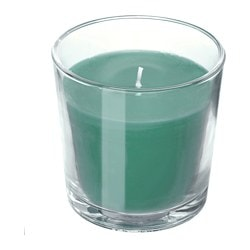 "SINNLIG scented candle in glass, dark green, Winter apples Height: 3 "" Burning time: 25 hr Height: 7.5 cm Burning time: 25 hr"