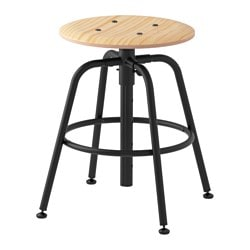 KULLABERG Stool, Pine, Black Tested For: 243 Lb Seat Diameter: 13 3