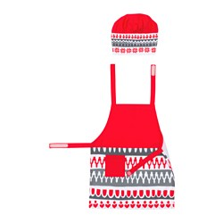 VINTER 2017, Children's apron with chef's hat, white, red