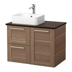 GODMORGON/ TOLKEN /  HÖRVIK wash-stand with 45x32 wash-basin, walnut effect, anthracite Width: 82 cm Depth: 49 cm Height: 72 cm