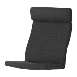 "POÄNG chair cushion, Hillared anthracite Length: 53 7/8 "" Width: 22 "" Thickness: 2 3/4 "" Length: 137 cm Width: 56 cm Thickness: 7 cm"