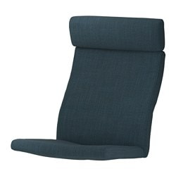 "POÄNG chair cushion, Hillared dark blue Length: 53 7/8 "" Width: 22 "" Thickness: 2 3/4 "" Length: 137 cm Width: 56 cm Thickness: 7 cm"