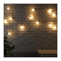 STRÅLA, LED light chain with 12 lights, indoor/outdoor, frosted