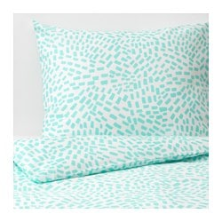 SOMMAR 2018 duvet cover and pillowcase(s), white, turquoise