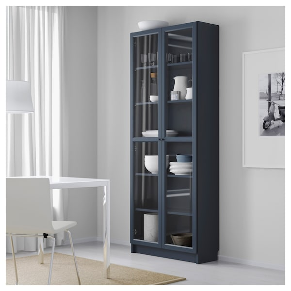 promo code 71a63 758fd Bookcase with glass doors BILLY dark blue