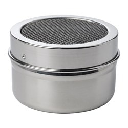 "BAKGLAD shaker with mesh top, stainless steel Height: 1 ½ "" Diameter: 2 ¼ "" Volume: 3 oz Height: 4 cm Diameter: 6 cm Volume: 100 ml"