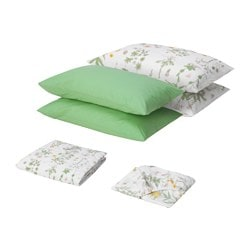 STRANDKRYPA bedlinen set, floral patterned, white Filling weight: 810 g Total weight: 1780 g