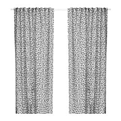 SOMMAR 2018 curtains, 1 pair, white, black