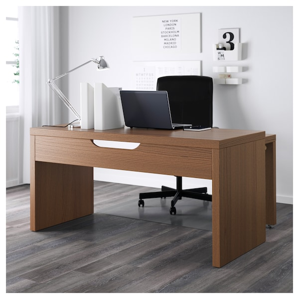 malm desk with pull out panel brown stained ash veneer ikea. Black Bedroom Furniture Sets. Home Design Ideas