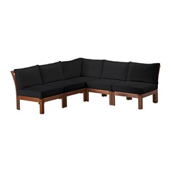 "ÄPPLARÖ /  KUNGSÖ 5-seat sectional, outdoor, brown stained, black Depth: 31 1/2 "" Height: 28 3/4 "" Width right: 81 1/8 "" Depth: 80 cm Height: 73 cm Width right: 206 cm"