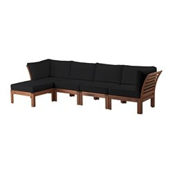 "ÄPPLARÖ /  KUNGSÖ 4-seat sofa with footstool, outdoor, brown stained, black Depth: 31 1/2 "" Height: 28 3/4 "" Width right: 112 5/8 "" Depth: 80 cm Height: 73 cm Width right: 286 cm"
