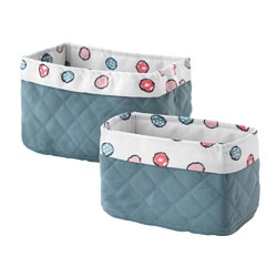 BUSSIG basket, set of 2, blue-gray
