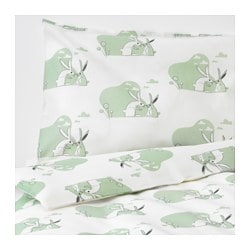 BUSSIG crib duvet cover/pillowcase, green