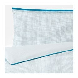 KLÄMMIG quilt cover/pillowcase for cot, turquoise