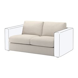 "VIMLE loveseat section, Gunnared beige Height including back cushions: 31 1/2 "" Backrest height: 26 "" Width: 55 1/2 "" Height including back cushions: 80 cm Backrest height: 66 cm Width: 141 cm"