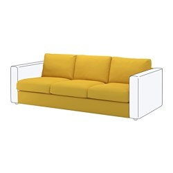 VIMLE 3-seat section, Orrsta golden-yellow Height including back cushions: 80 cm Height backrest: 66 cm Width: 211 cm
