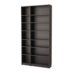 BILLY, Bookcase combination/hght extension, black-brown