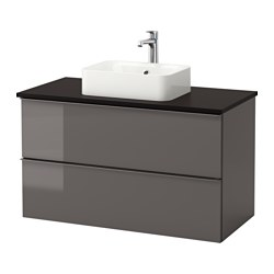 "GODMORGON/ TOLKEN /  HÖRVIK cabinet, top + 17 3/4x12 2/8"" sink, high gloss gray, anthracite"