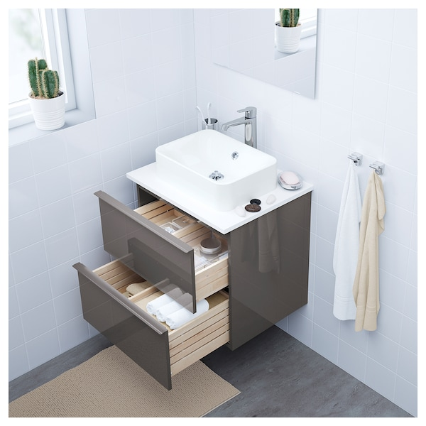 Godmorgon Waschtisch.Wash Stand With 2 Drawers Godmorgon High Gloss Grey
