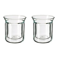 AVRUNDAD mug, double-walled, clear glass Height: 12 cm Volume: 15 cl Package quantity: 2 pieces