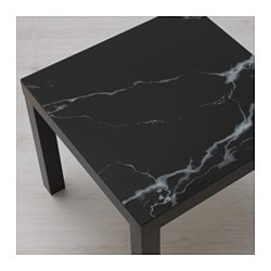 LACK glass top, marble effect, black