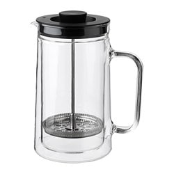 EGENTLIG coffee/tea maker, double-walled, clear glass Height: 21 cm Volume: 0.9 l