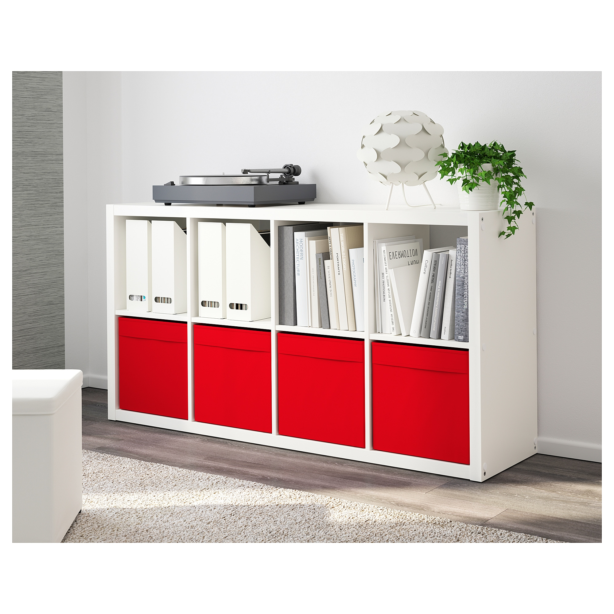 Image result for rta shelves with fabric boxes