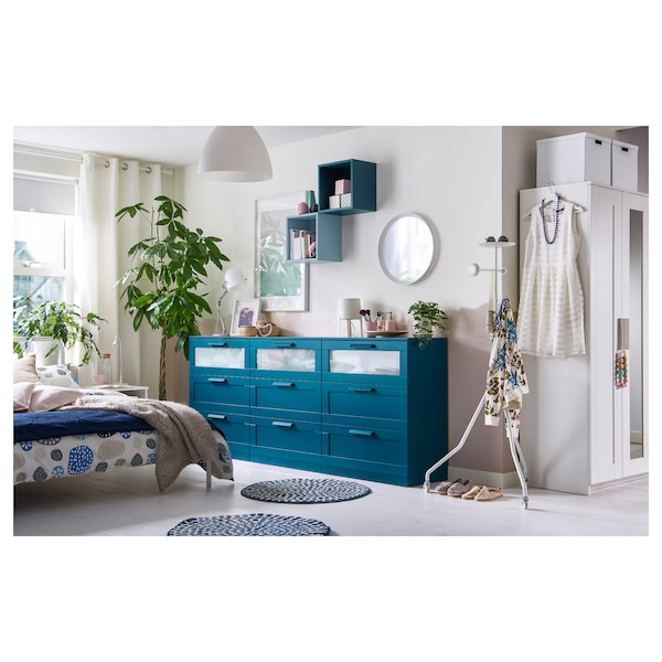 3-drawer chest BRIMNES dark green-blue, frosted glass