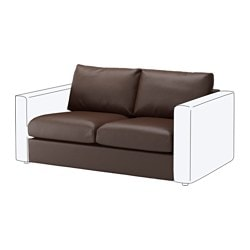 VIMLE 2-seat section, Farsta dark brown Height backrest: 66 cm Width: 141 cm Depth: 98 cm