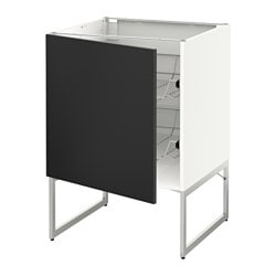 METOD base cabinet with wire baskets, white, Uddevalla anthracite Width: 60 cm Depth: 61.7 cm Frame, depth: 60 cm