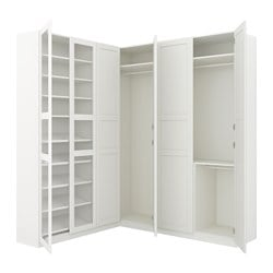 "PAX corner wardrobe, white Tyssedal, Tyssedal glass Height: 93 1/8 "" Width right: 73 7/8 "" Width left: 82 3/4 "" Height: 236.4 cm Width right: 187.8 cm Width left: 210.3 cm"