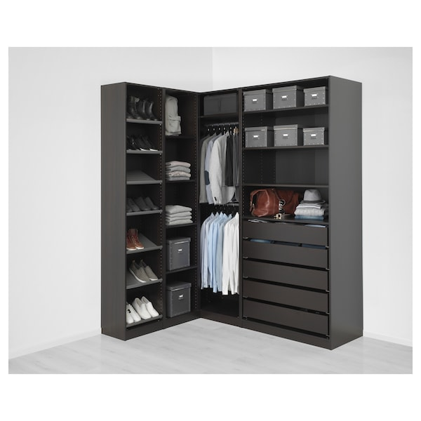 Ikea Guardaroba Planner.Corner Wardrobe Pax Black Brown