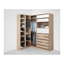 PAX corner wardrobe, white stained oak effect
