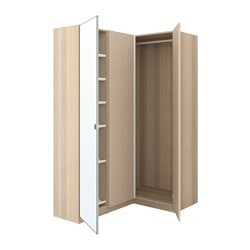 PAX corner wardrobe, white stained oak effect, Nexus Vikedal