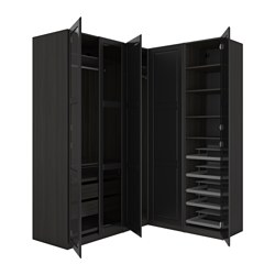 "PAX corner wardrobe, black-brown Undredal, Undredal glass Height: 93 1/8 "" Width right: 63 1/8 "" Width left: 82 3/4 "" Height: 236.4 cm Width right: 160.3 cm Width left: 210.3 cm"