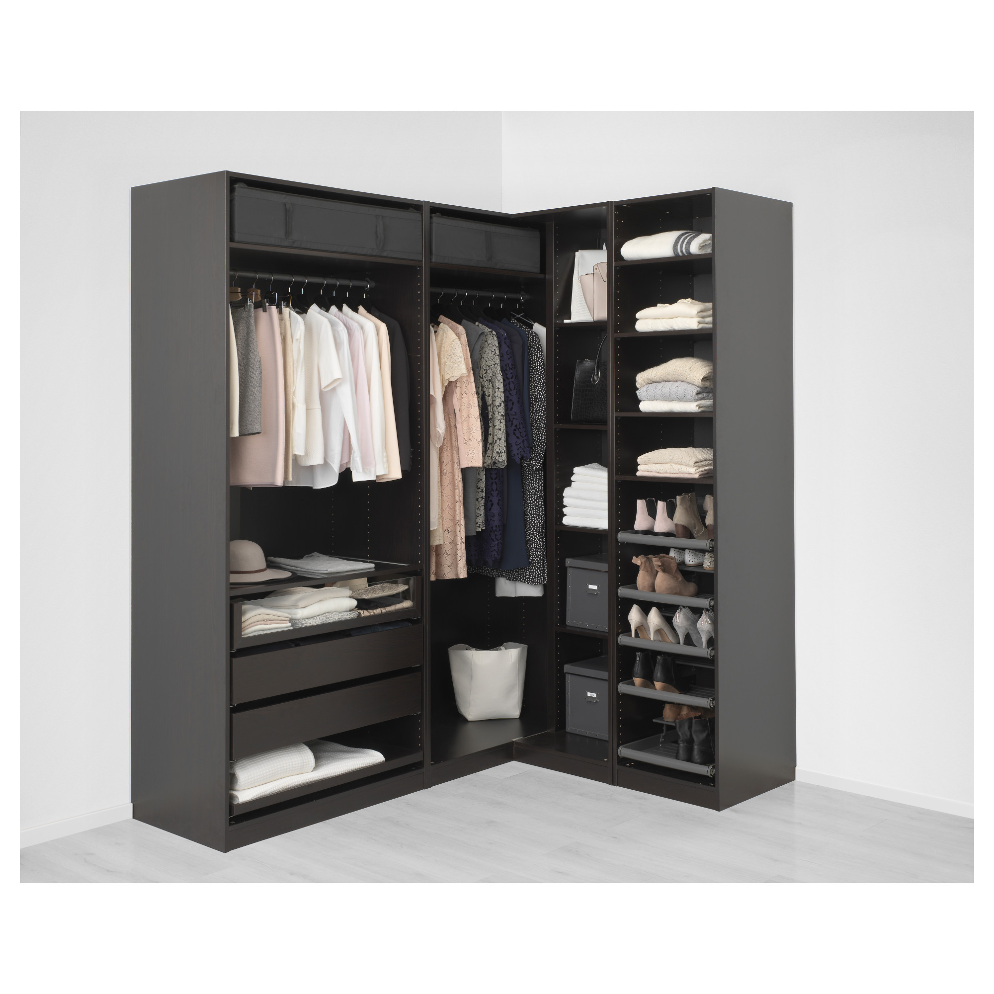 Add On Corner Unit With 4 Shelves Pax Black Brown