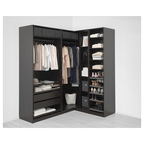 pax add on corner unit with 4 shelves black brown ikea