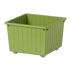VESSLA storage crate with castors, light green Length: 39 cm Width: 39 cm Height: 28 cm