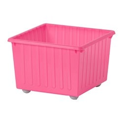 VESSLA storage crate with castors, light pink Length: 39 cm Width: 39 cm Height: 28 cm
