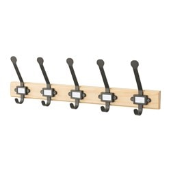 KARTOTEK rack with 5 hooks, pine, gray
