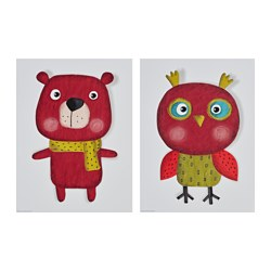 EDELVIK poster, set of 2, Owl and bear