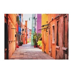 "EDELVIK poster, Alley in Burano, Italy Width: 27 ½ "" Height: 19 ¾ "" Width: 70 cm Height: 50 cm"