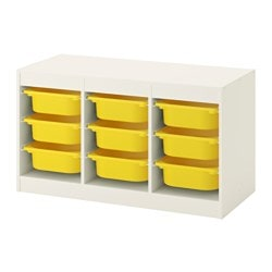 TROFAST storage combination with boxes, white, yellow Width: 99 cm Height: 56 cm