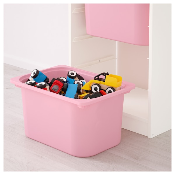 TROFAST Storage combination with boxes, white, pink