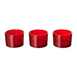 KLARHET tealight holder, red Height: 5 cm Diameter: 7.5 cm Package quantity: 3 pack