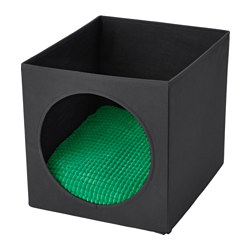 LURVIG cat house with cushion, black, green