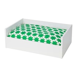 LURVIG, Pet bed with pad, white, green white