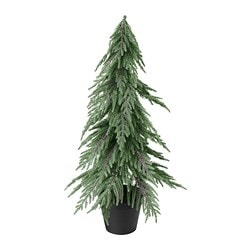 FEJKA artificial potted plant, Christmas tree, glitter